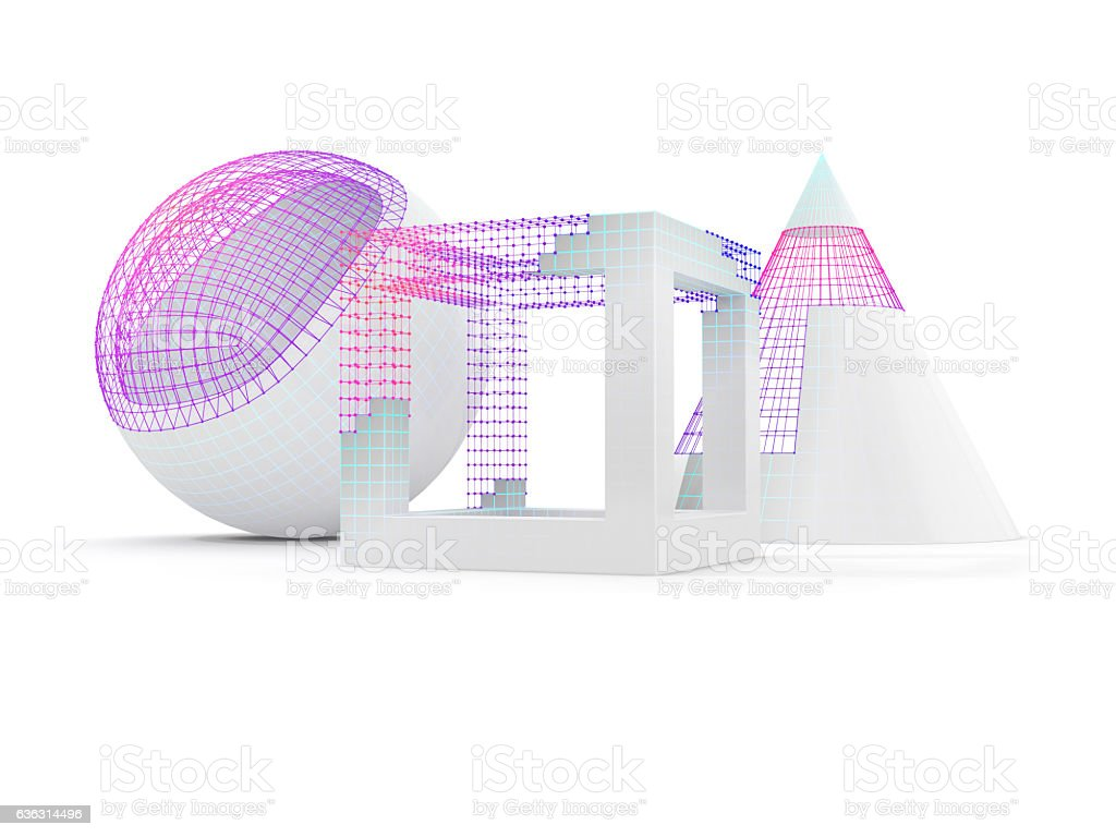 geometric objects with wireframe stock photo