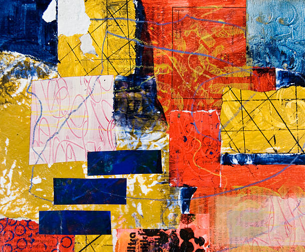 Geometric painted collage with rectangles stock photo