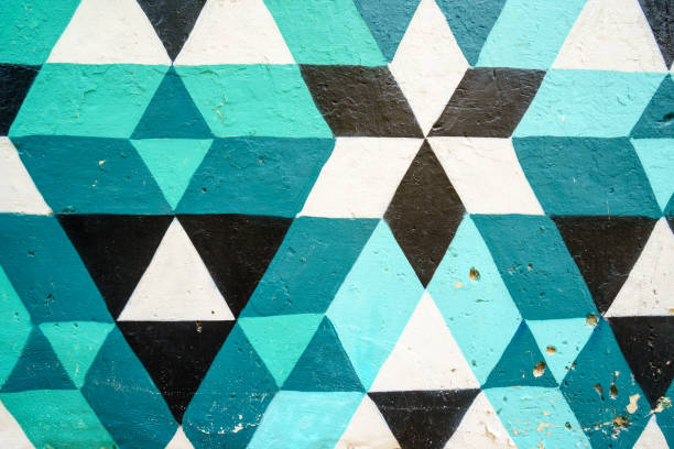 Geometric pattern of blue,black and white colors stock photo