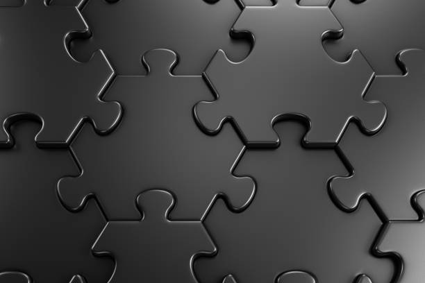 Geometric Pattern Of Jigsaw Puzzle Close-up view of assembled hexagonal parts of black colored jigsaw puzzle. 3d rendering graphics. jigsaw piece stock pictures, royalty-free photos & images