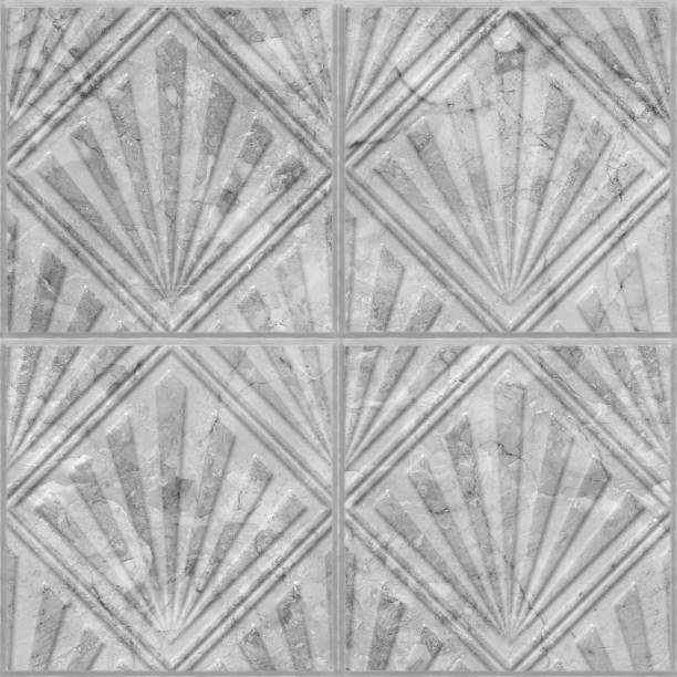 geometric pattern on marble tile seamless texture - art deco stock photos and pictures