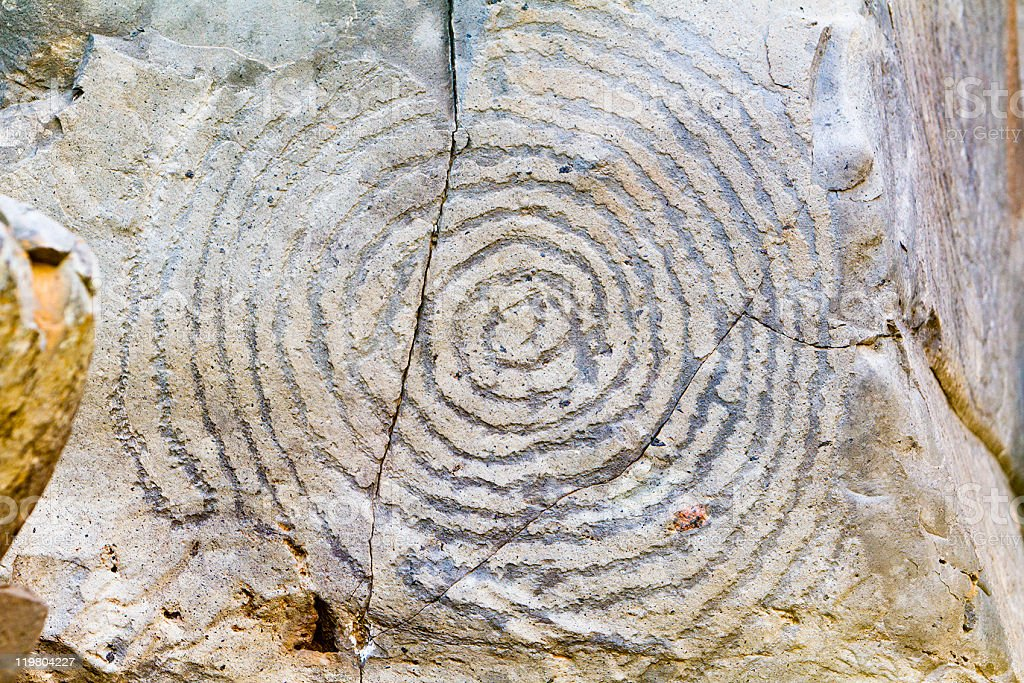 Geometric Rock Carving stock photo