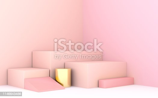 istock geometric shape 3d rendering stage for products or achivments in pastel pink 1146643456