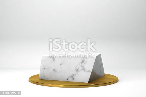 istock geometric shape 3d rendering stage for products or achivments marble and gold 1154652768