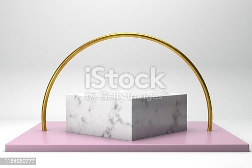 istock geometric shape 3d rendering stage for products or achivments marble and gold 1154652777