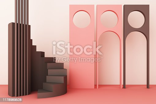 istock Geometric shape composition with stair and arch on pink background. 3d rendering 1178989528