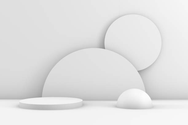 3D Geometric Shapes Abstract Minimal Background, Blank Product Stand, White Background - foto stock