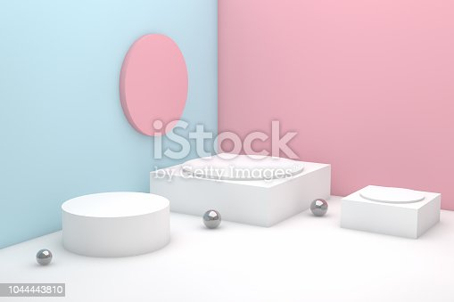 istock 3D Geometric Shapes Abstract Minimal Background 1044443810