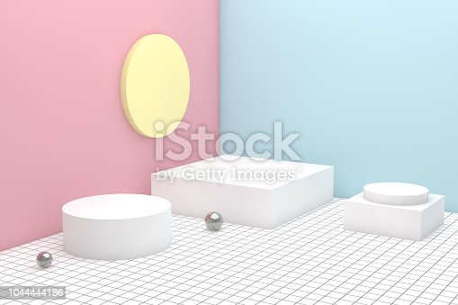 istock 3D Geometric Shapes Abstract Minimal Background 1044444186