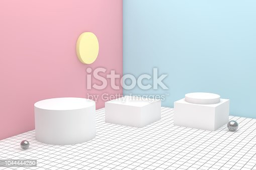 istock 3D Geometric Shapes Abstract Minimal Background 1044444250