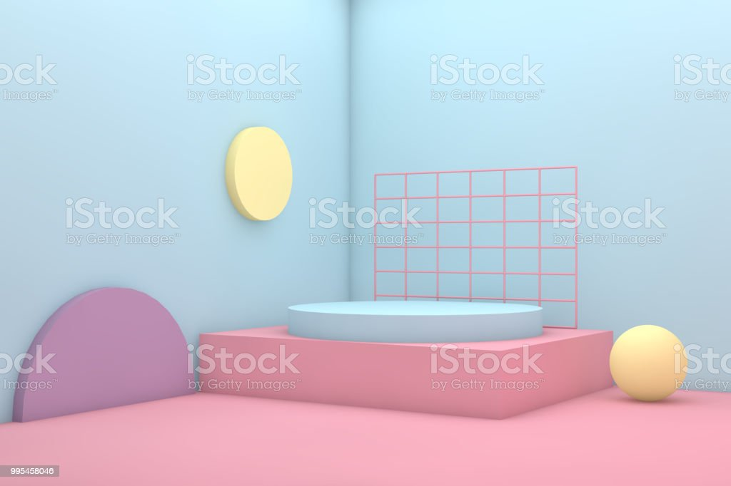 3D Geometric Shapes Abstract Minimal Background stock photo