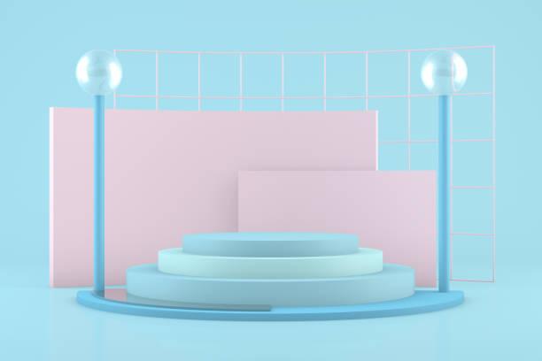 3D Geometric Shapes Abstract Minimal Background, Podium Concept, Empty Showcase stock photo