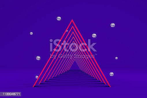 istock 3D Geometric Shapes Abstract Minimal Background, Tunnel, Corridor, Podium, Neon Colors 1133048771