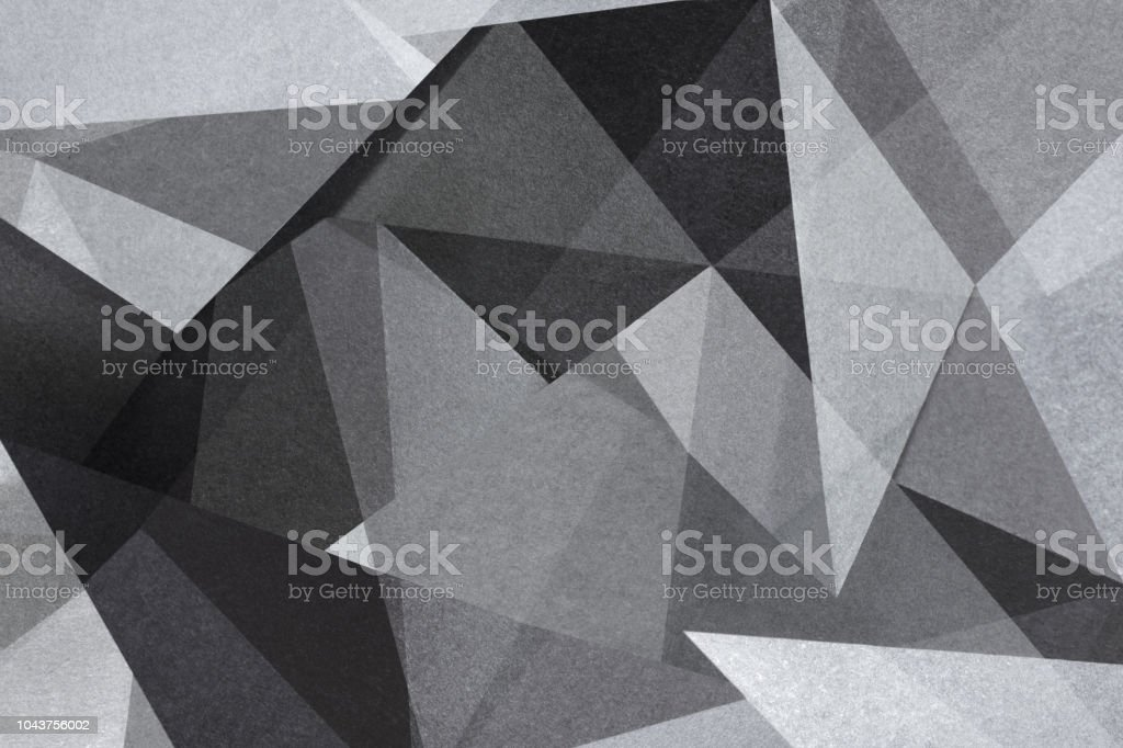 Geometric shapes in black and white, abstract background stock photo