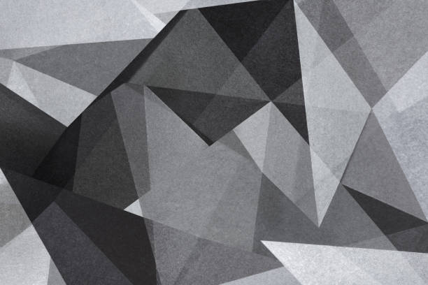 geometric shapes in black and white, abstract background - monochrome stock pictures, royalty-free photos & images