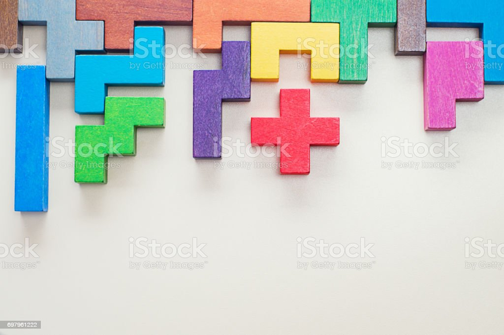 Geometric shapes in different colors, top view. stock photo