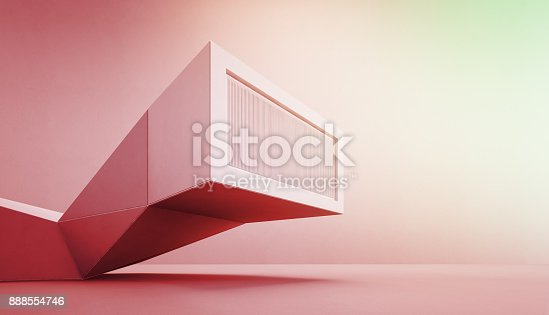 istock Geometric shapes megaphone on concrete floor with empty red and green wall background in announcement concept, Construction technology for future architecture 888554746