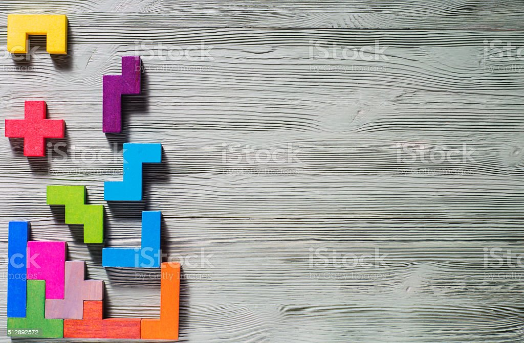 Geometric shapes on a wooden background. royalty-free stock photo