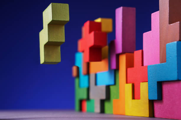Geometric shapes on blue background. stock photo