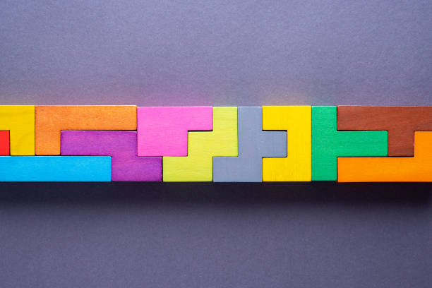 Geometric shapes on gray background. The concept of logical thinking. stock photo