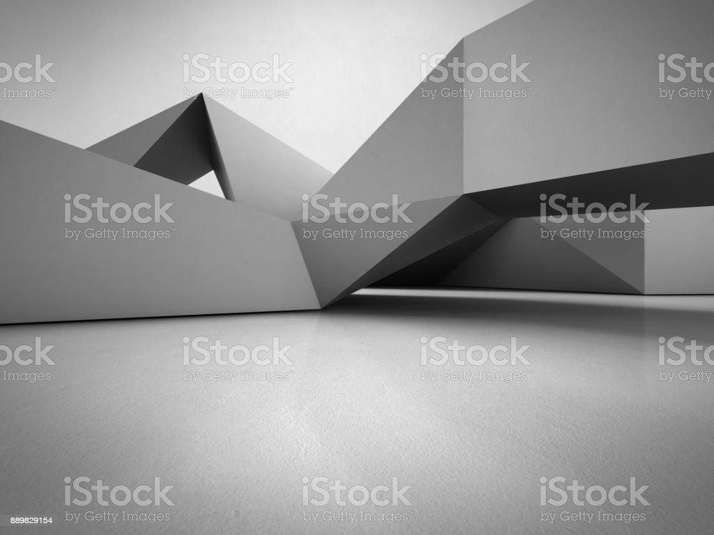 Structure de formes géométriques sur le sol en béton avec fond de mur gris vide dans la salle ou salle d'exposition moderne, technologie de Construction pour la future architecture - illustration 3d abstrait design d'intérieur photo libre de droits