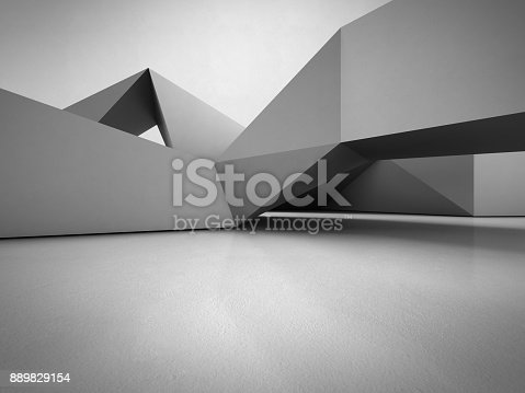 istock Geometric shapes structure on concrete floor with empty gray wall background in hall or modern showroom, Construction technology for future architecture - Abstract interior design 3d illustration 889829154
