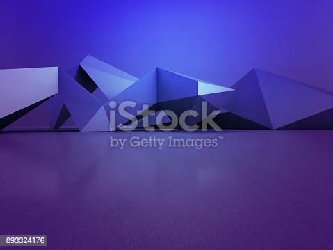 996693064 istock photo Geometric shapes structure on empty concrete floor with blue wall background in hall or modern showroom, Construction technology for future architecture - Abstract interior design 3d illustration 893324176