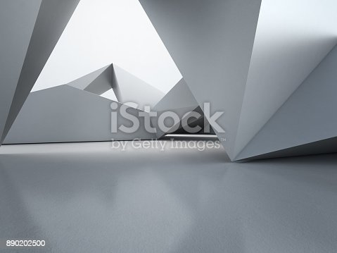 996693064 istock photo Geometric shapes structure on empty concrete floor with polygonal wall background in hall or modern showroom, Construction technology for future architecture - Abstract interior design 3d illustration 890202500