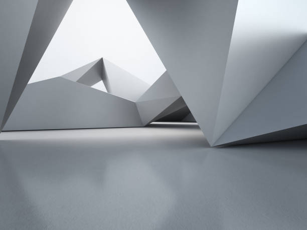 Geometric shapes structure on empty concrete floor with polygonal wall background in hall or modern showroom, Construction technology for future architecture - Abstract interior design 3d illustration stock photo