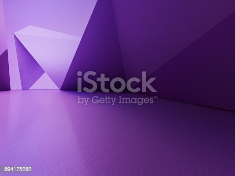996693064 istock photo Geometric shapes structure on empty concrete floor with purple wall background in hall or modern showroom, Construction technology for future architecture - Abstract interior design 3d illustration 894175282