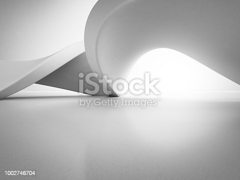 istock Geometric shapes structure on empty concrete floor with white wall background in hall or modern showroom, Construction technology for future architecture - Abstract interior design 3d illustration 1002746704