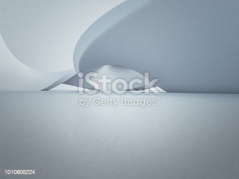 996693064 istock photo Geometric shapes structure on empty concrete floor with white wall background in hall or modern showroom, Construction technology for future architecture - Abstract interior design 3d illustration 1010605224