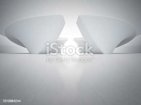 996693064 istock photo Geometric shapes structure on empty concrete floor with white wall background in hall or modern showroom, Construction technology for future architecture - Abstract interior design 3d illustration 1010964244