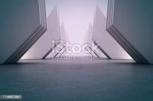 istock Geometric shapes structure on empty concrete floor with white wall background in hall or modern showroom. Construction technology for future architecture. 1146922651