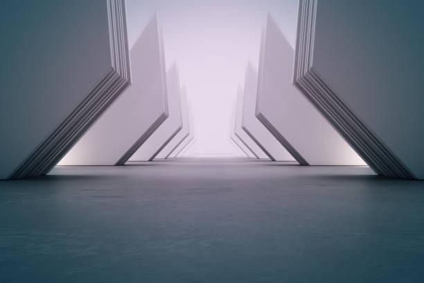 ホールやモダンなショールームで白い壁の背景を持つ空のコンクリートの床に幾何学的形状構造。未来の建築のための建設技術。 - 記念建造物 ストックフォトと画像