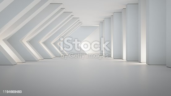 687371974 istock photo Geometric shapes structure on empty concrete floor with white wall background in big hall or modern showroom. 1194669483