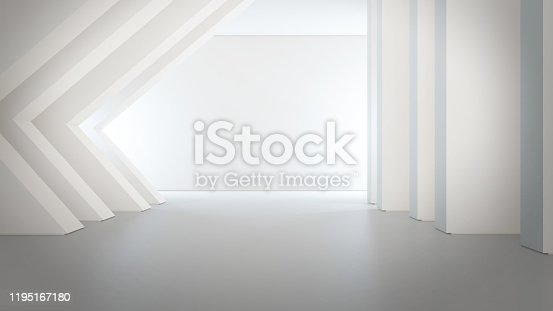 687371974 istock photo Geometric shapes structure on empty concrete floor with white wall background in big hall or modern showroom. 1195167180
