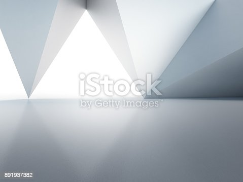 istock Geometric shapes structure on empty concrete floor with white wall background in hall or modern showroom, Construction technology for future architecture - Abstract interior design 3d illustration 891937382