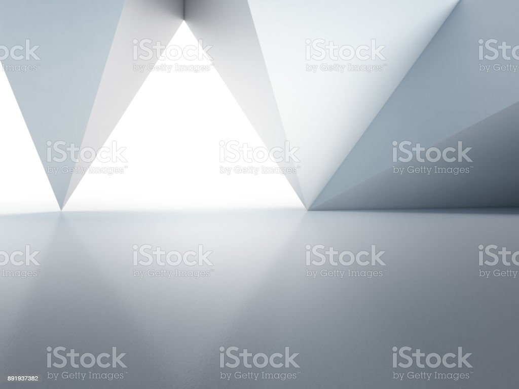 Geometric shapes structure on empty concrete floor with white wall background in hall or modern showroom, Construction technology for future architecture - Abstract interior design 3d illustration stock photo
