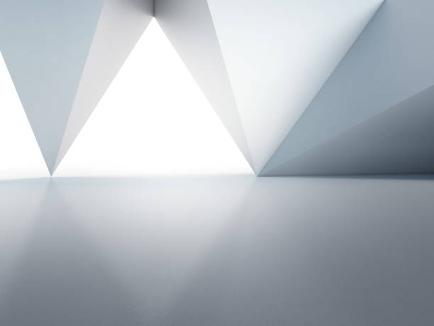geometric shapes structure on empty concrete floor with white wall background in hall or modern showroom, construction technology for future architecture - abstract interior design 3d illustration - triangolo forma bidimensionale foto e immagini stock
