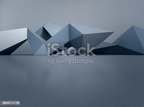 996693064 istock photo Geometric shapes structure on empty concrete floor with white wall background in hall or modern showroom, Construction technology for future architecture - Abstract interior design 3d illustration 894074126