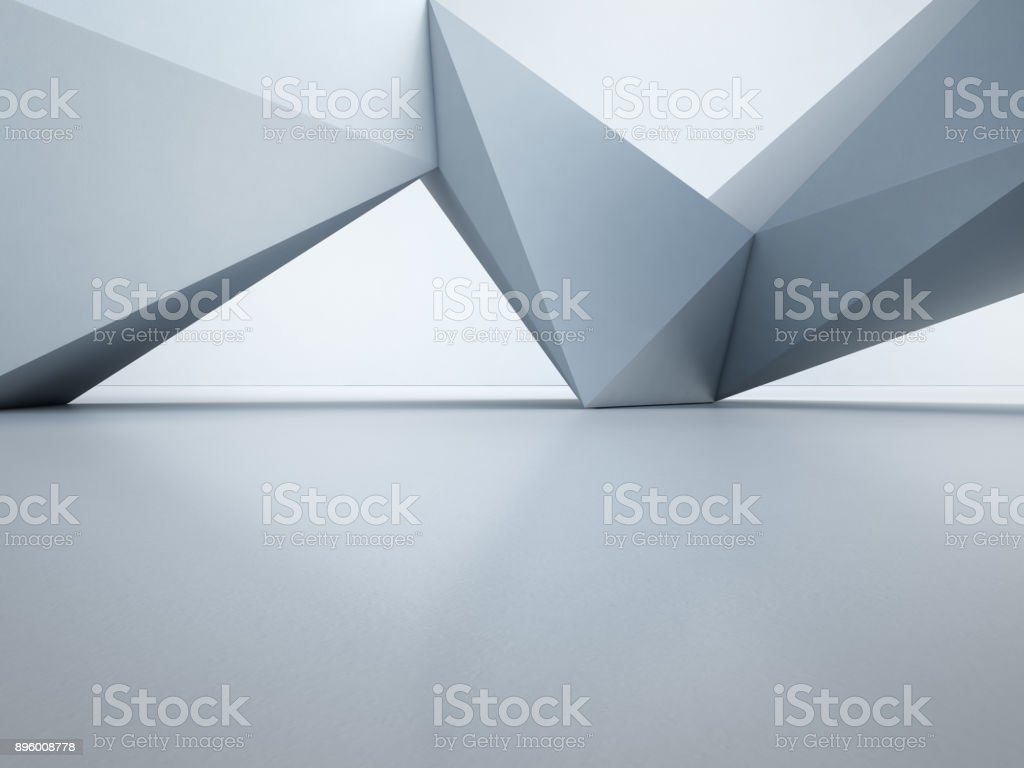 Geometric shapes structure on empty concrete floor with white wall background in hall or modern showroom, Construction technology for future architecture - Abstract interior design 3d illustration royalty-free stock photo