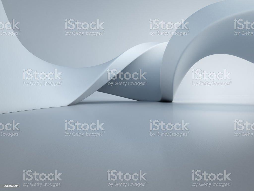 Estructura de formas geométricas en el piso de concreto vacía con fondo de pared blanca en pasillo o sala moderna, tecnología de la construcción para la futura arquitectura - ilustración 3d Resumen de diseño de interiores foto de stock libre de derechos