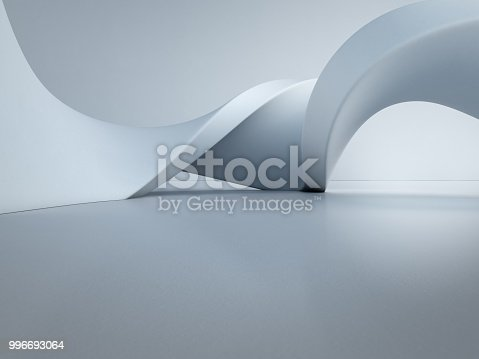 istock Geometric shapes structure on empty concrete floor with white wall background in hall or modern showroom, Construction technology for future architecture - Abstract interior design 3d illustration 996693064