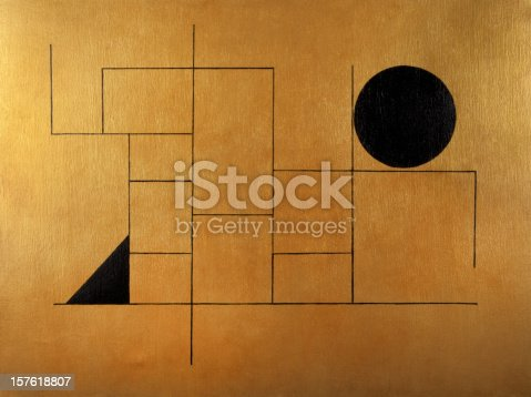 Geometric subject with black sphere and triangle on a golden background, painted with oils and acrylics on canvas (Year 2006)