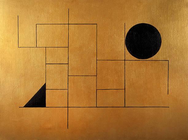 geometric subject with black sphere and triangle on golden background - tempera resim stok fotoğraflar ve resimler