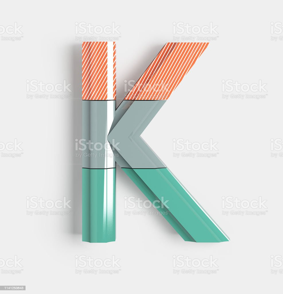 Geometric Vivid Font. Letter K Geometric Vivid Font with bright coral and pastel colored patterns. 3d illustration isolated. Abstract Stock Photo