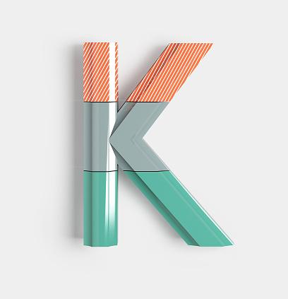 Geometric Vivid Font Letter K Stock Photo - Download Image Now