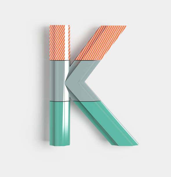 Geometric Vivid Font. Letter K Geometric Vivid Font with bright coral and pastel colored patterns. 3d illustration isolated. k logo stock pictures, royalty-free photos & images