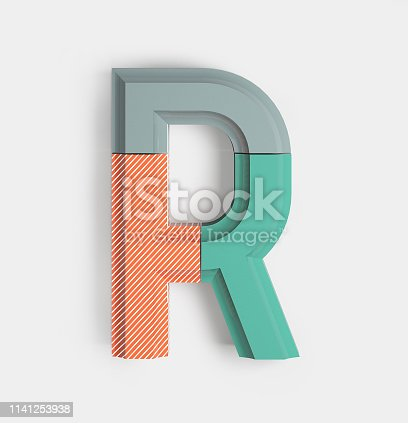 583978558istockphoto Geometric Vivid Font. Letter R 1141253938